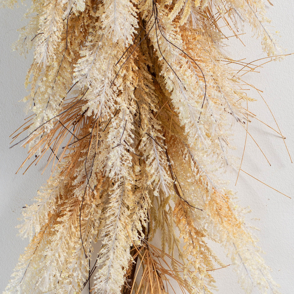 Pampas Grass & Country Grass Fall Front Door Hanging Teardrop Swag
