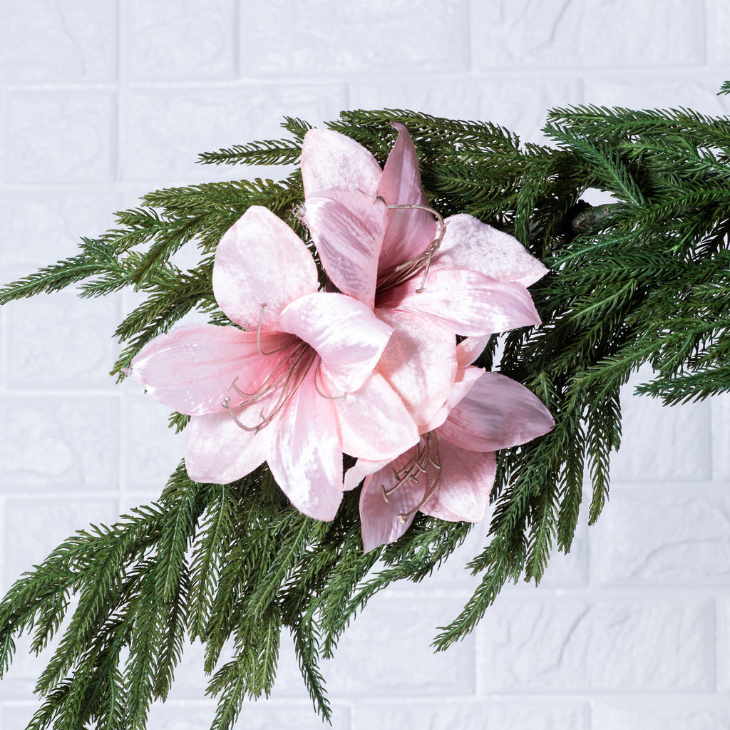 Pink Amaryllis Cluster Flower Clip On Christmas Ornament