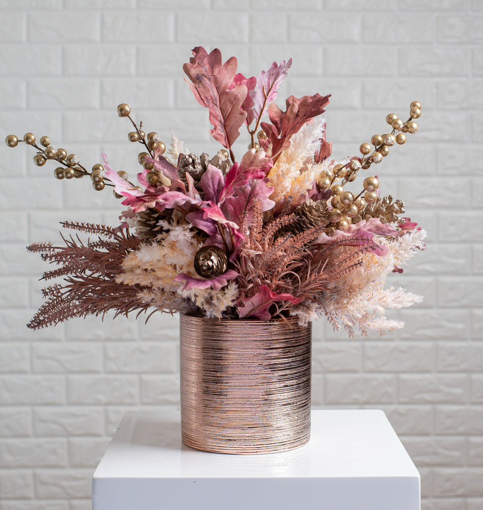 Pink Oak Leaf, Pampas Grass & Gold Berry Fall Floral Arrangement Centerpiece in Rose Gold Pot