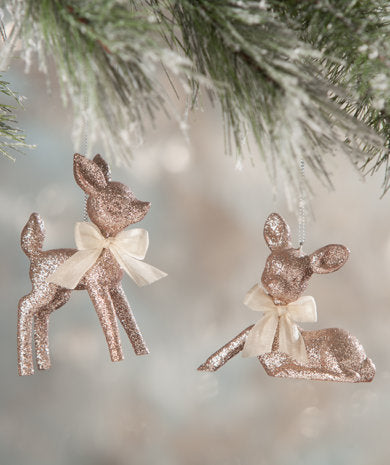 Retro Style Reindeer Platinum Pink Rose Gold Glitter Ornament Pair