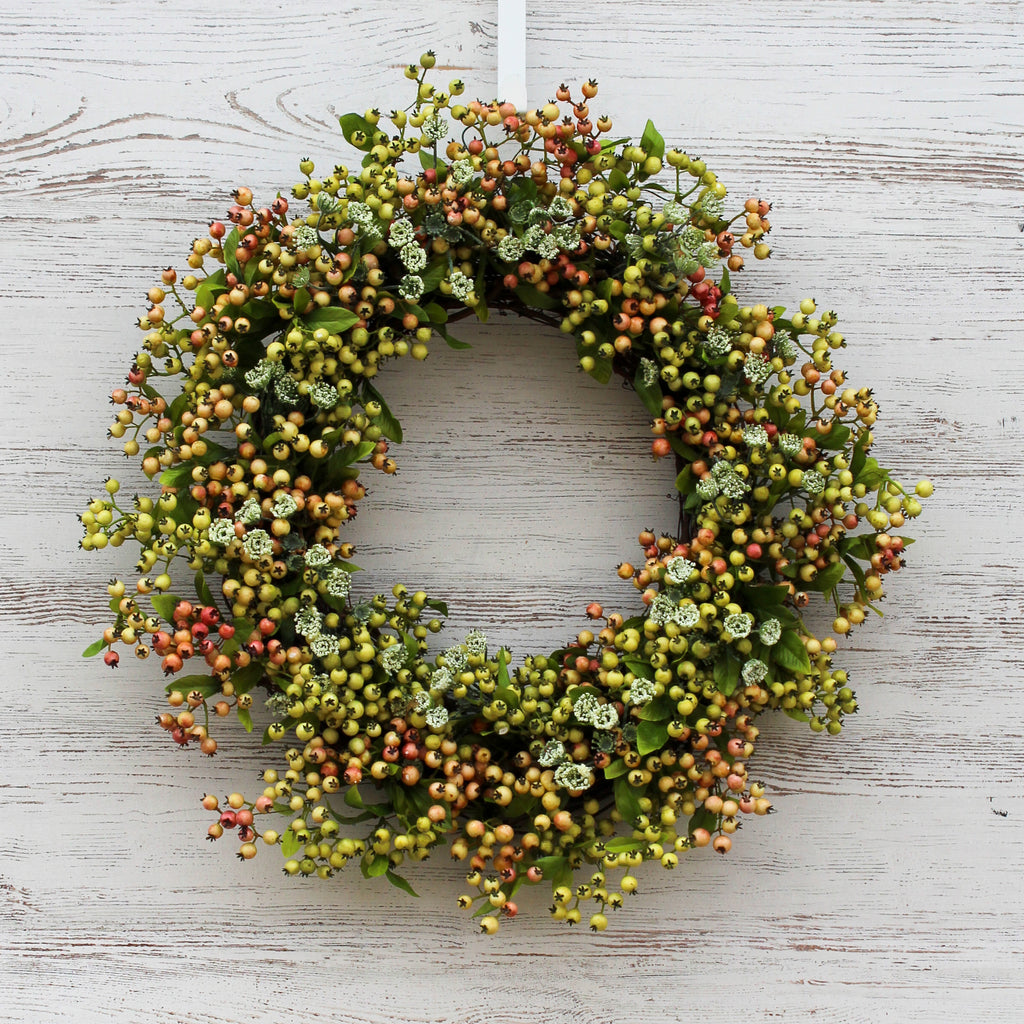 Pink & Green Pepperberry and Queen Anne's Lace Front Door Spring Wreath