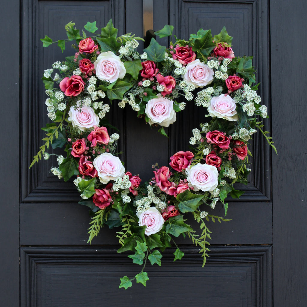 Pink Roses, Queen Anne's Lace & Ivy Heart Shaped Wreath