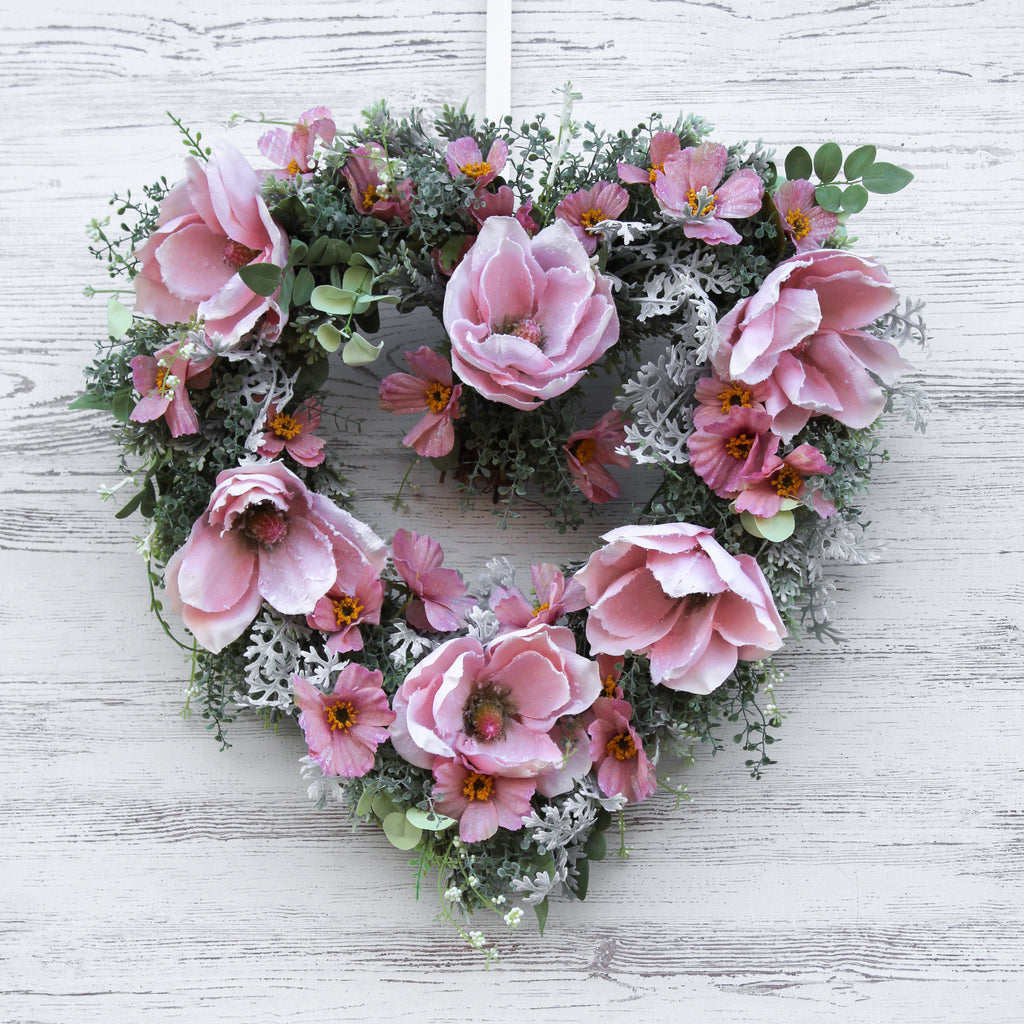 Pink Snow Kissed Magnolia, Dusty Miller & Eucalyptus Heart Wreath 24""