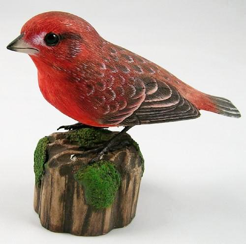 Purple Finch - Hand Carved Wooden Bird