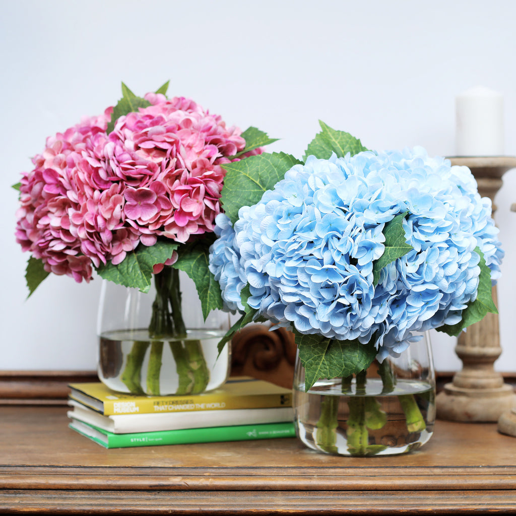 Real Touch Hydrangea Spring Summer Everyday Floral Arrangement in Glass Teardrop Vase - 2 Color Options
