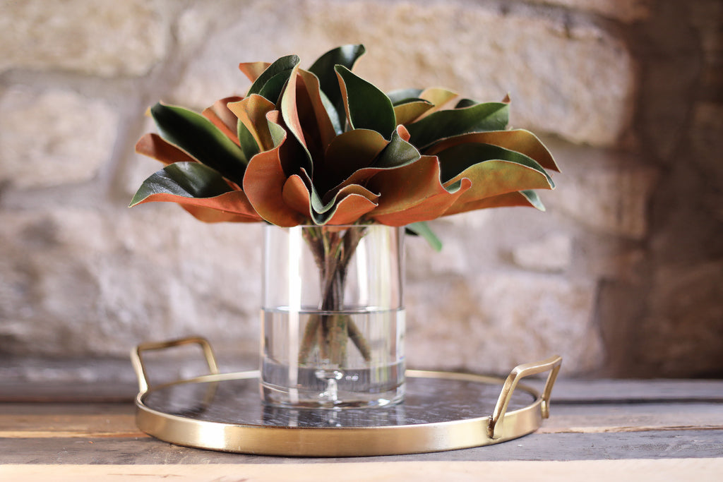 Real Touch Magnolia Leaves Everyday Arrangement in Glass Vase - 2 Sizes Available
