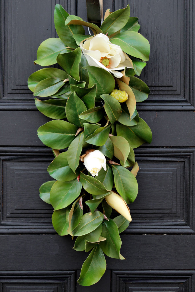 Real Touch Magnolia All Seasons Teardrop Front Door Swag