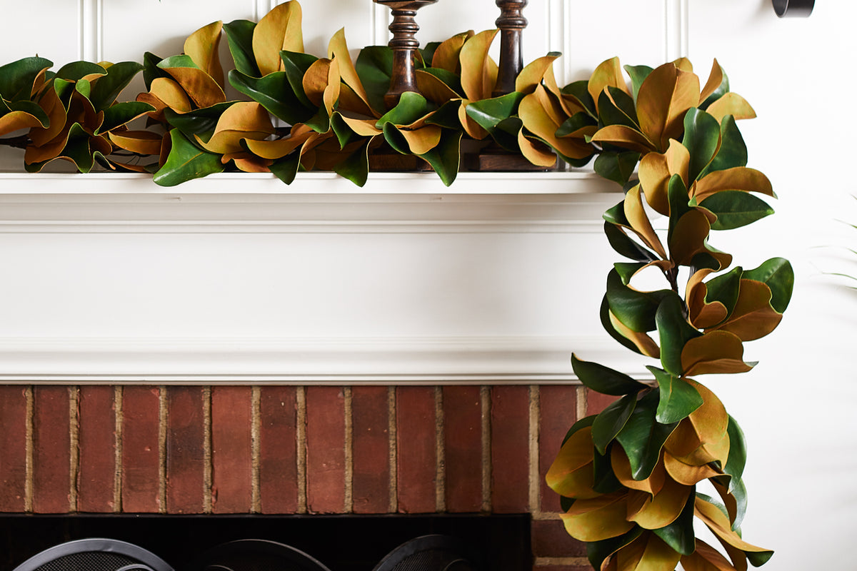 Real Touch Magnolia Leaf All Seasons Outdoor Hanging Front Door Garlan Darby Creek Trading