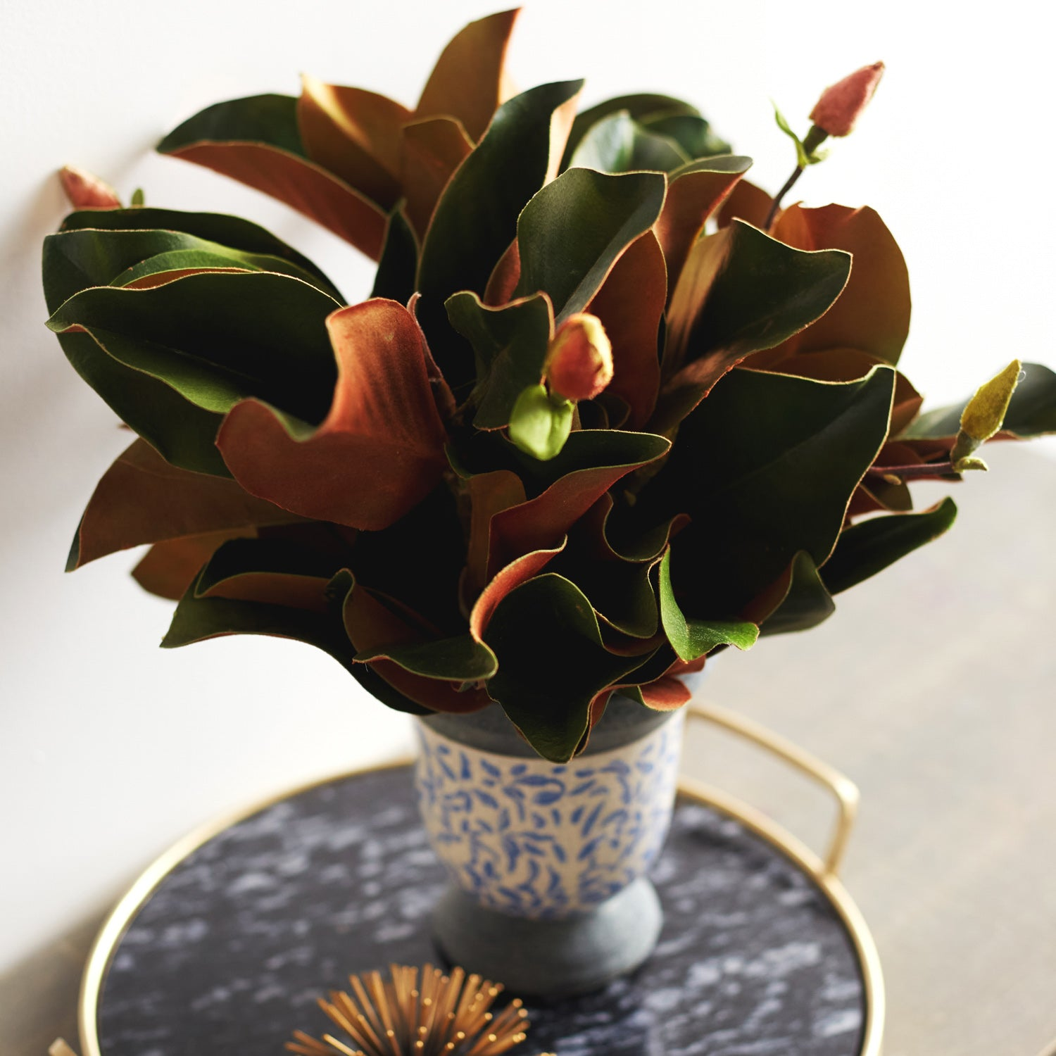 Real Touch Magnolia Leaves Buds Everyday Arrangement In Blue And Whi Darby Creek Trading