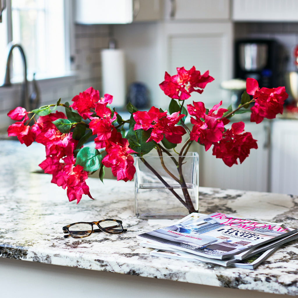 Real Touch Pink Bougainvillea Arrangement in Glass Vase