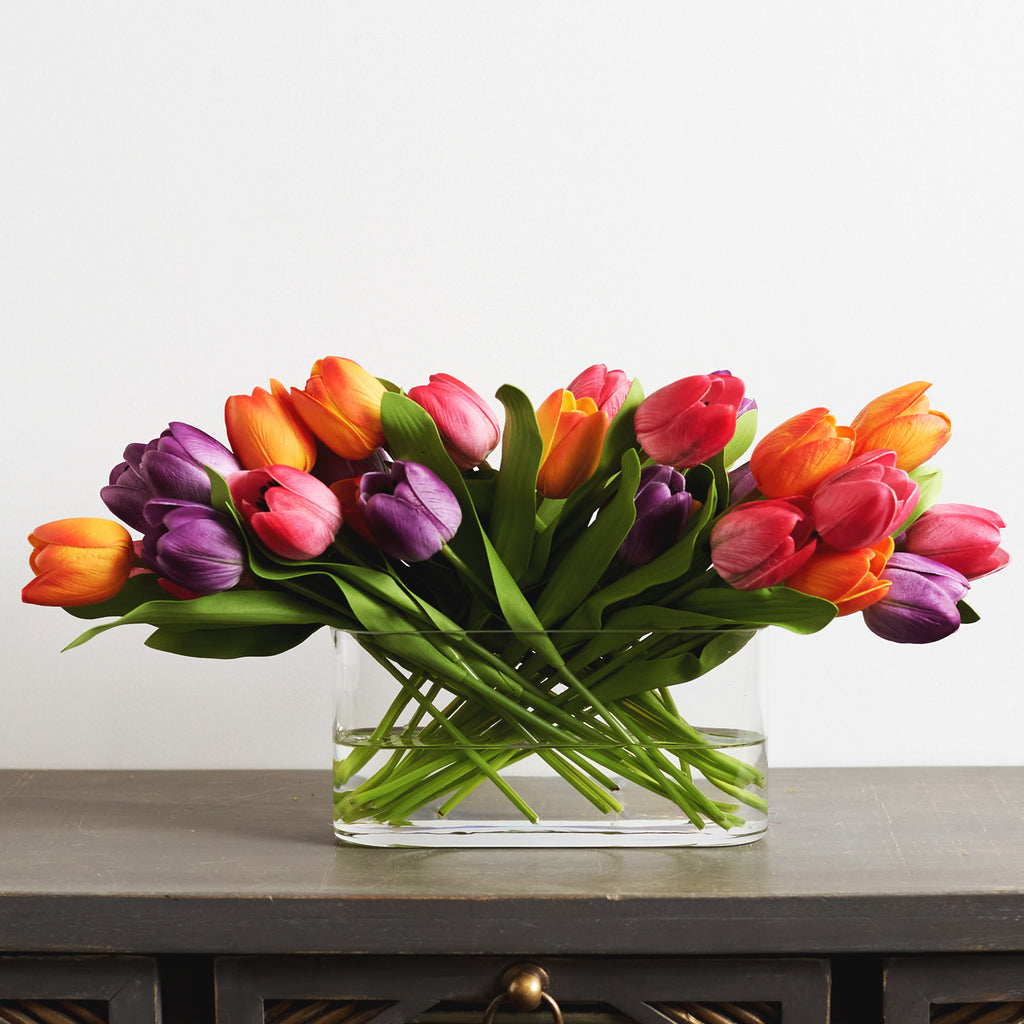 Real Touch Multicolor Tulip Spring Floral Arrangement in Oval Glass Vase