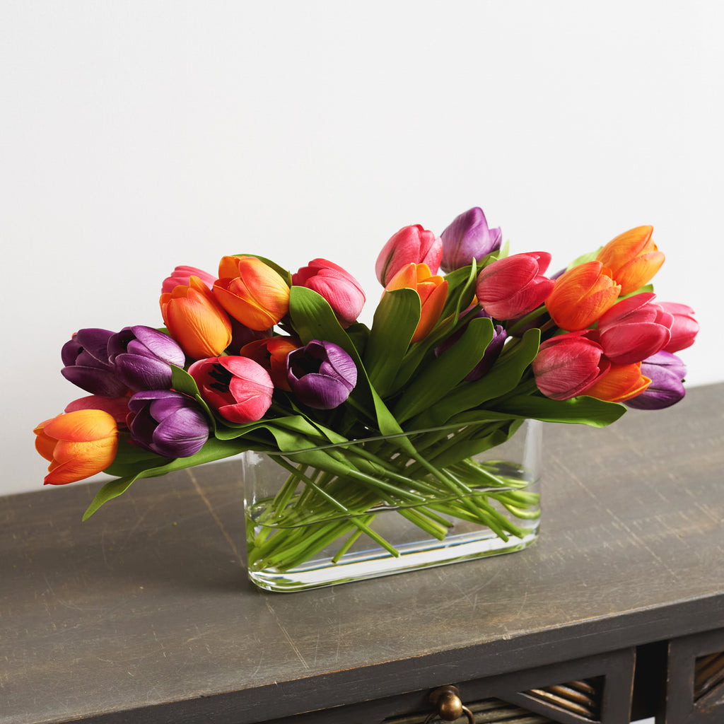 Real Touch Tulip Spring Floral Arrangement in Oval Glass Vase - Custom Color Options Available