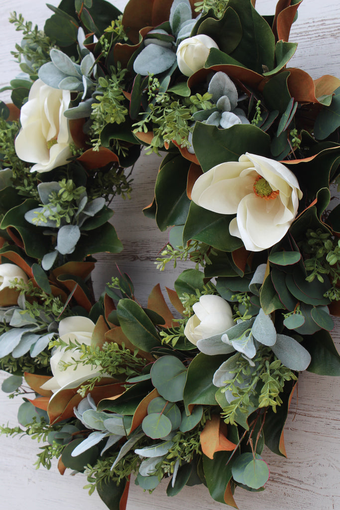 Real Touch White Magnolia & Mixed Greenery Everyday Spring Summer Front Door Estate Wreath