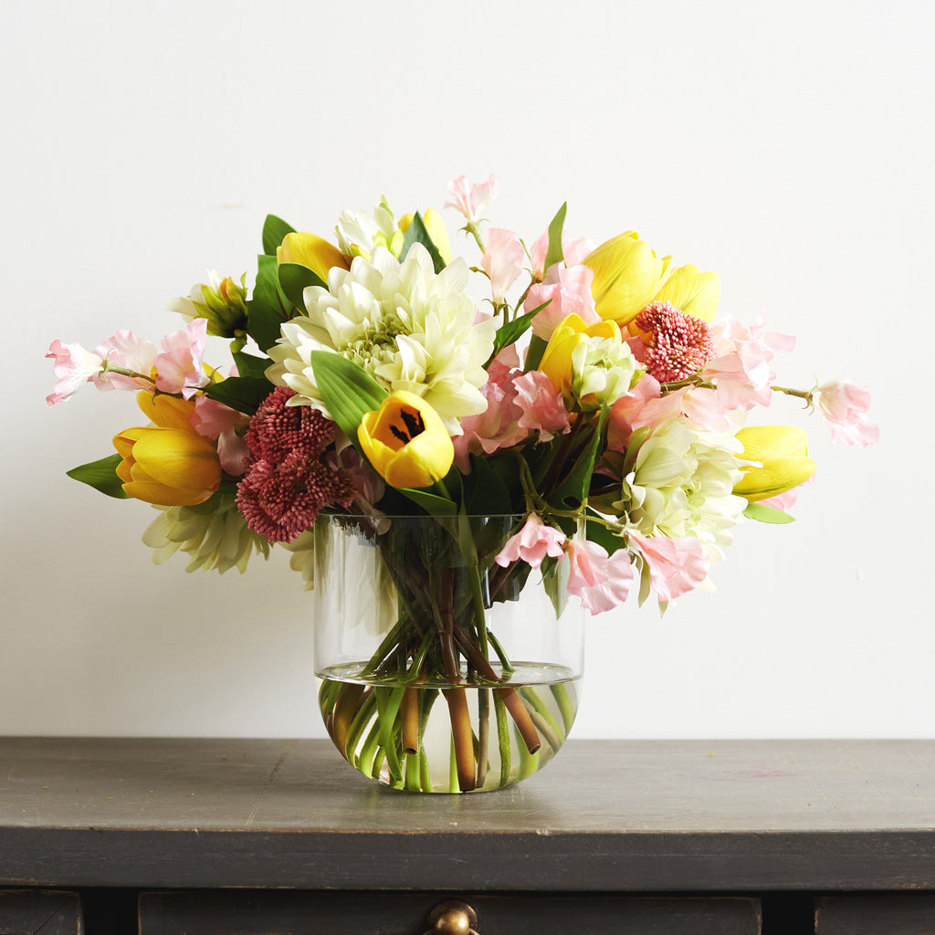 Real Touch Yellow Tulips, Pink Sweet Pea & Dahlia Spring Summer Floral Arrangement in Glass Vase