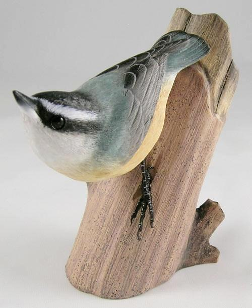 Red-breasted Nuthatch - Hand Carved Wooden Bird