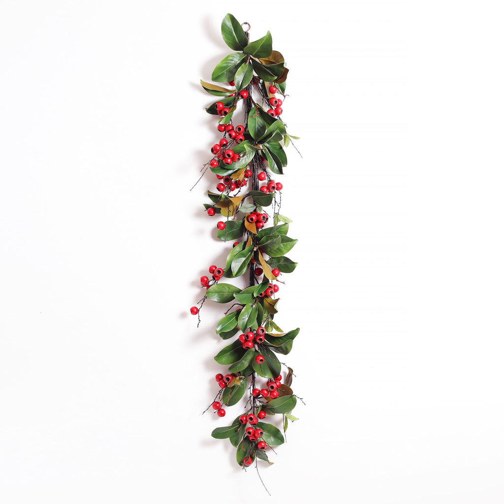 Red Berry & Magnolia Deluxe Christmas Holiday Front Door Garland Table Runner