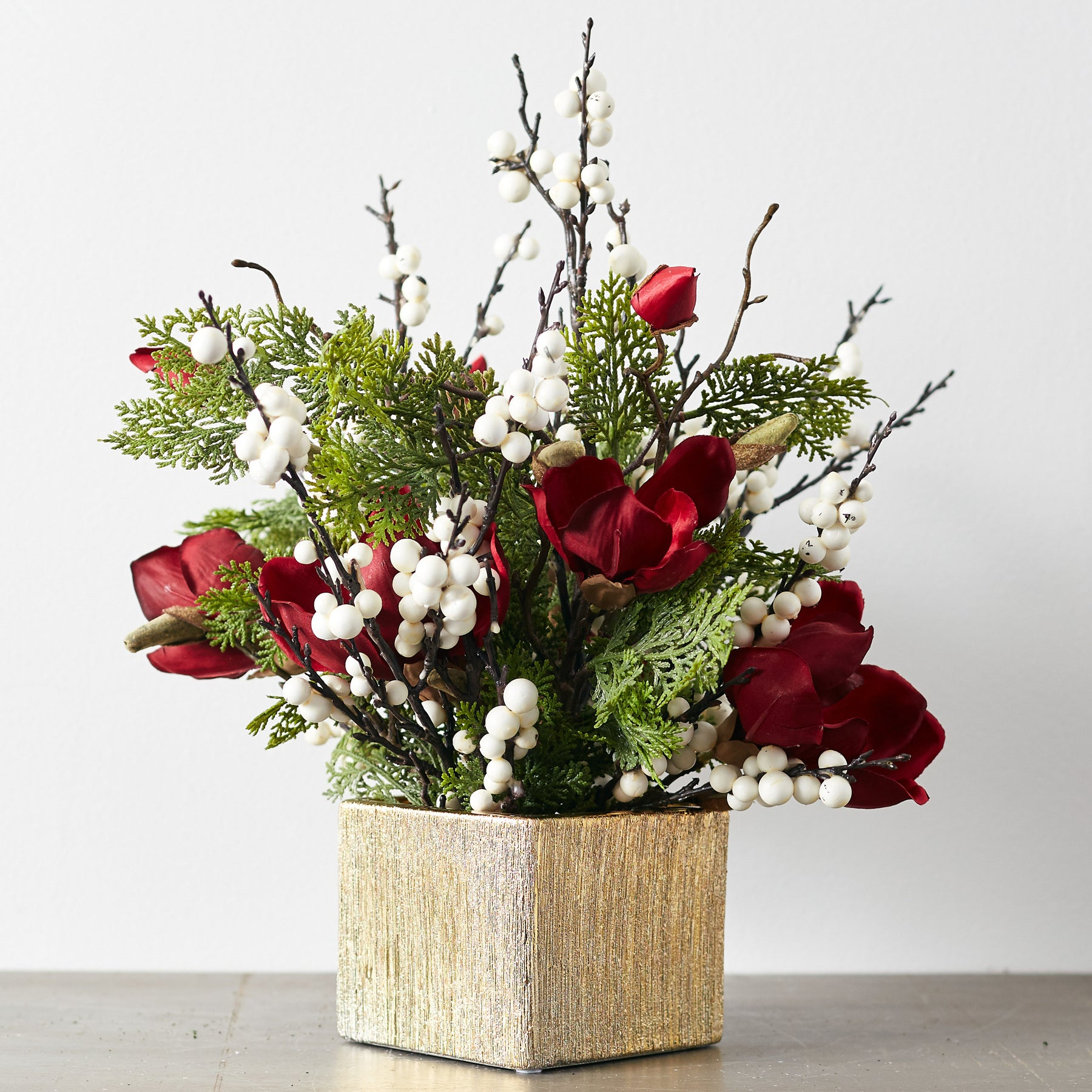 Snowy Red Berry Pine Boxwood Christmas Arrangement In White Faux Bi Darby Creek Trading