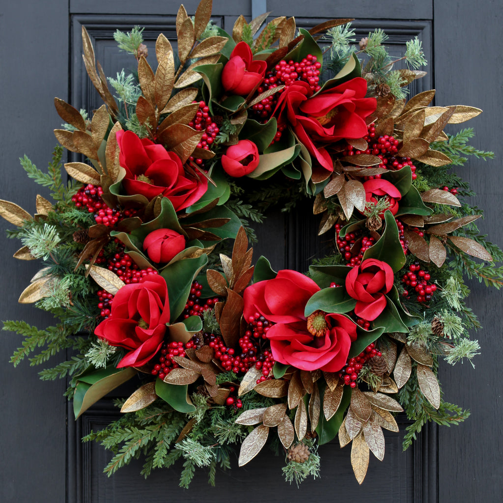 Red Real Touch Magnolia, Antique Gold Eucalyptus & Red Berry Front Door Christmas Estate Wreath 32