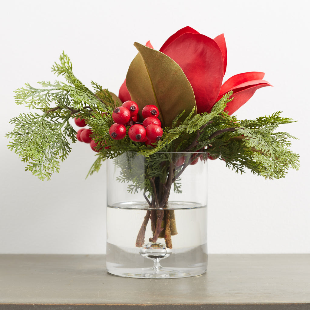 Red Real Touch Magnolia, Berry & Cypress Christmas Arrangement in Glass Cylinder Vase