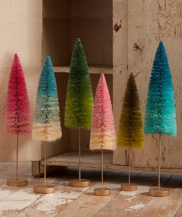 Ombré Forest Tree Winter Christmas Decor - Set of 2