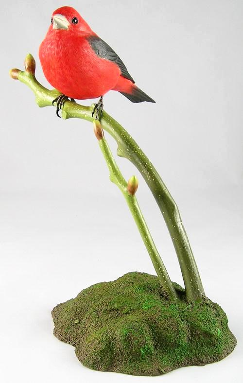 Scarlet Tanager#2 - Hand Carved Wooden Bird