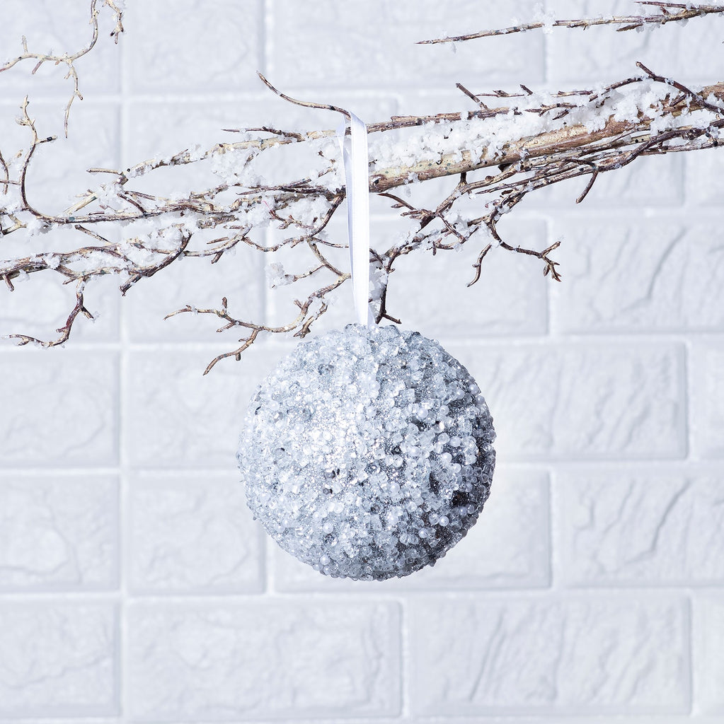Silver Beaded & Sequin Adorned Christmas Ball Ornament