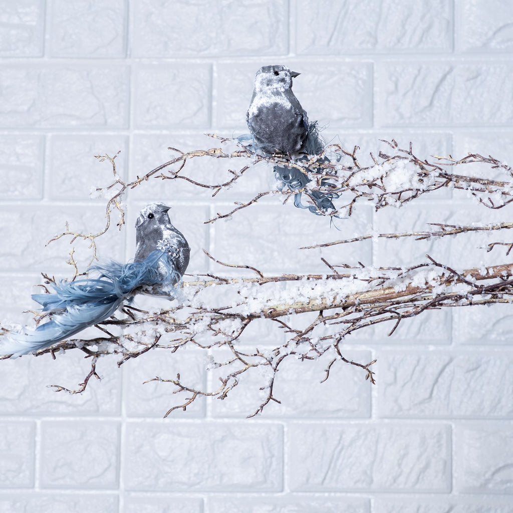 Small Slate Blue Gray Velvet Birds Christmas Ornaments with Clip - Set of 2