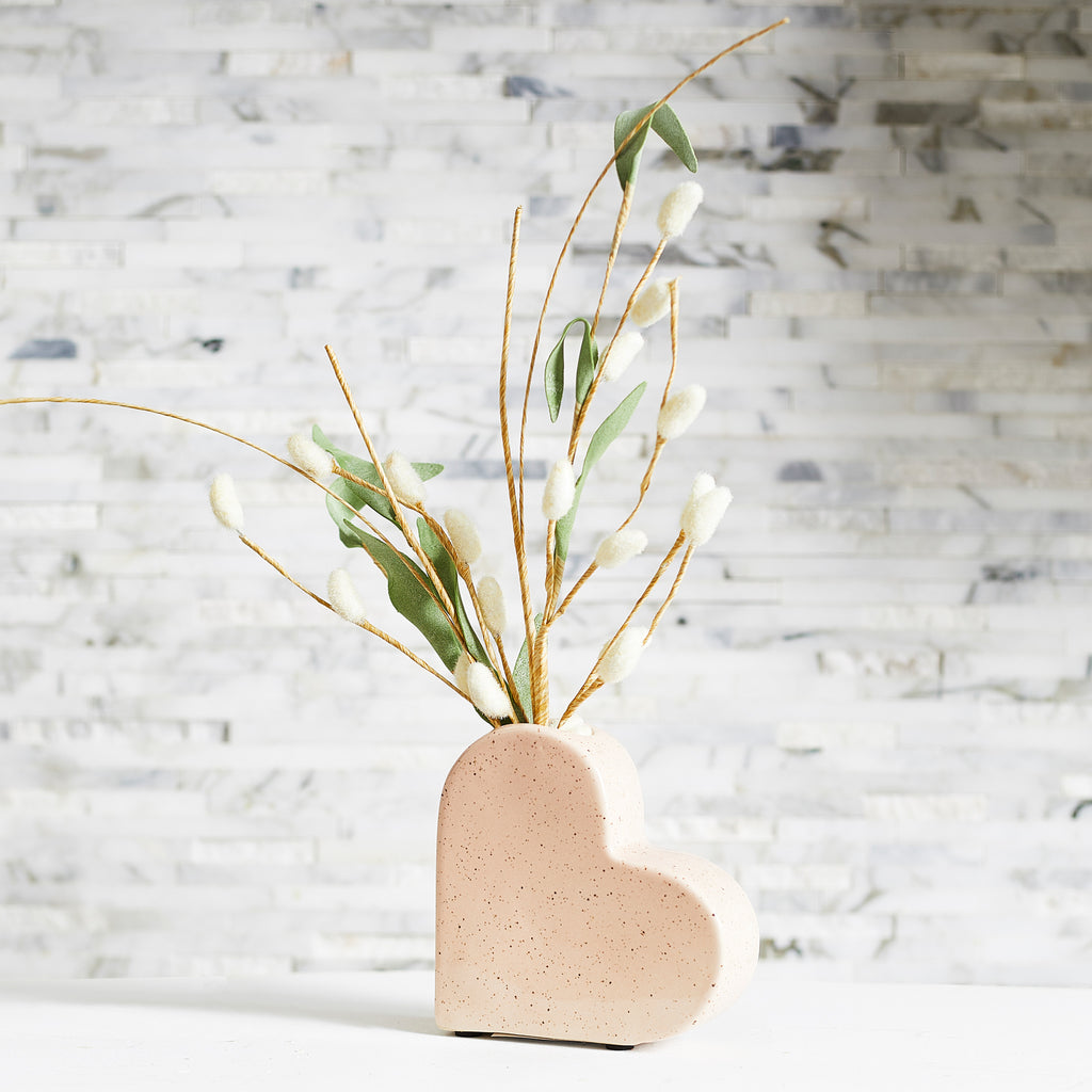 Small Pink Speckled Ceramic Heart Budvase with Albino Pussy Willow Spring Summer Floral Arrangement