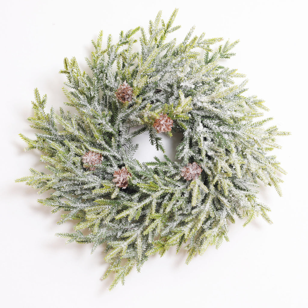 Snowy Fir & Pinecone Winter Christmas Mini Wreath or Candle Ring Centerpiece
