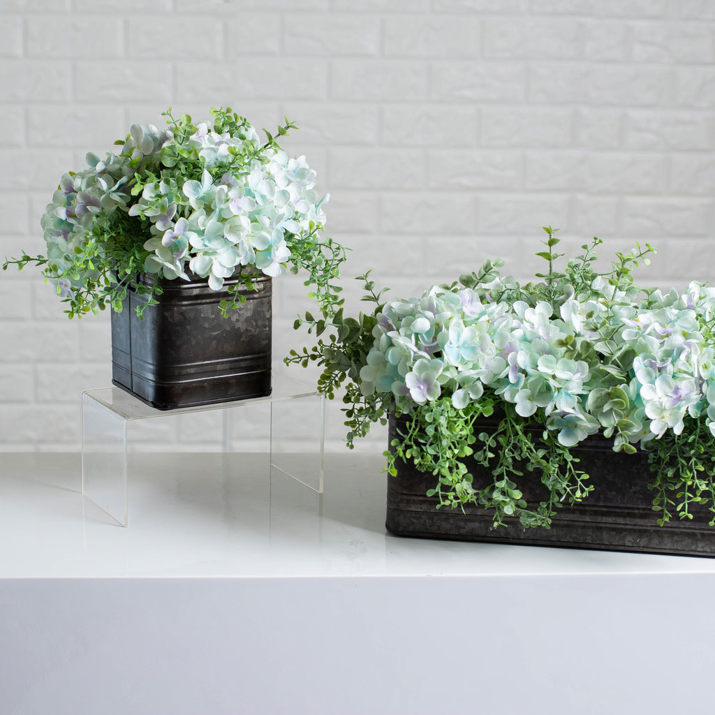 Soft Blue Hydrangea & Mixed Eucalyptus Everyday Floral Arrangement Centerpiece in Metal Tin - 3 Size Options