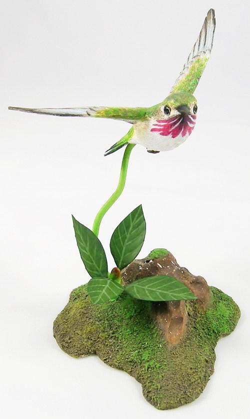 Spread Wings Calliope Hummingbird - Hand Carved Wooden Bird