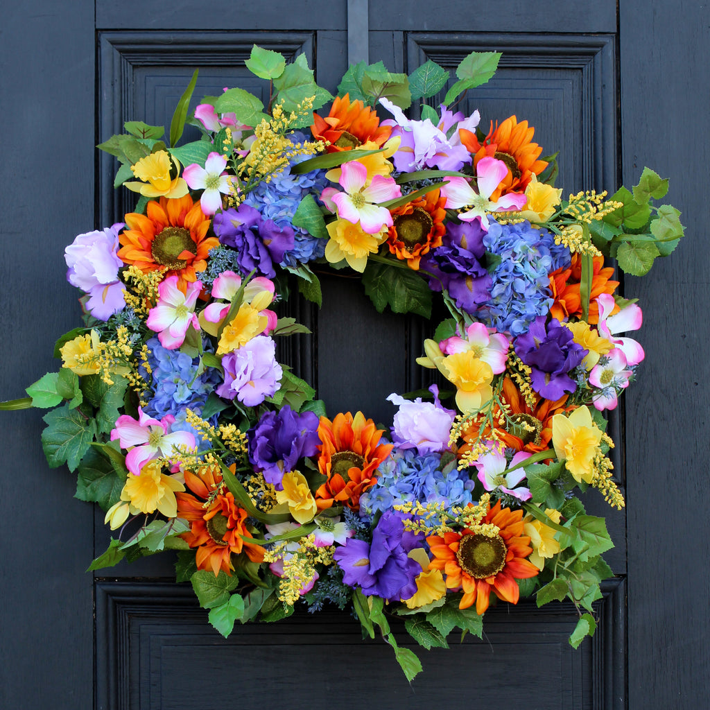 Sunflower & Bright Mixed Floral Spring Summer Front Door Wreath