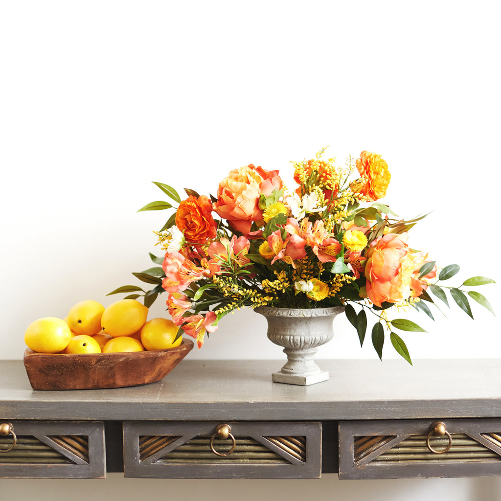 Sunset Paradise - Orange Real Touch Peony, Yellow Daisy & Alstroemeria Summer Floral Arrangement in Urn