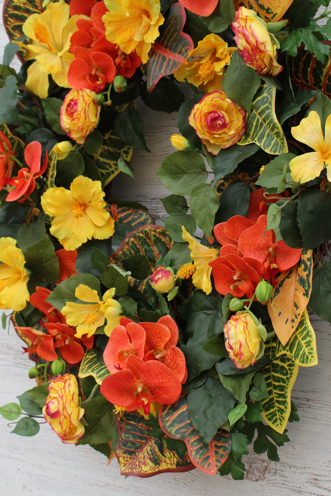 Tropical Paradise - Yellow Hibiscus, Orange Orchid & Croton Summer Front Door Wreath