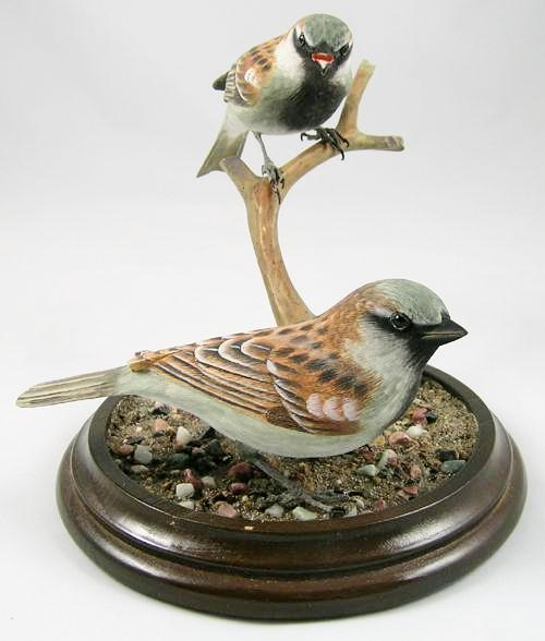 Two House Sparrows - Hand Carved Wooden Bird