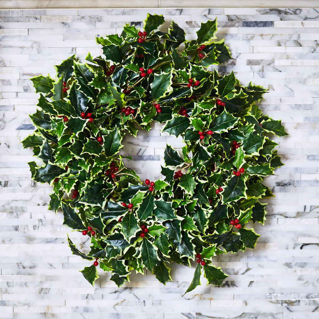 Variegated Holly & Red Berry Mini Wreath or Candle Wreath Centerpiece