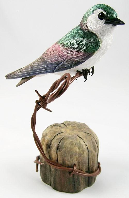 Violet-green Swallow - Hand Carved Wooden Bird