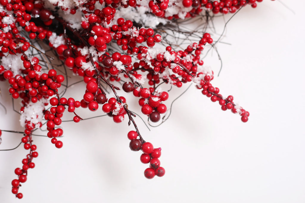 Waterproof Snowy Red Berry Christmas Holiday Front Door Wreath