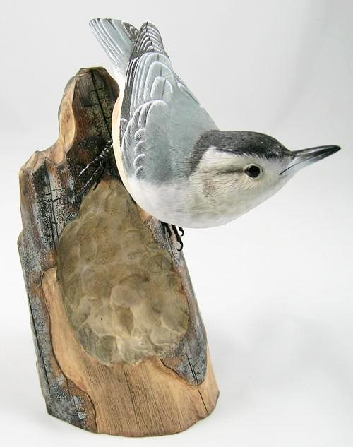 White-breasted Nuthatch - Hand Carved Wooden Bird