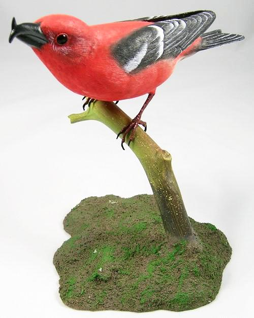 White-winged Crossbill - Hand Carved Wooden Bird