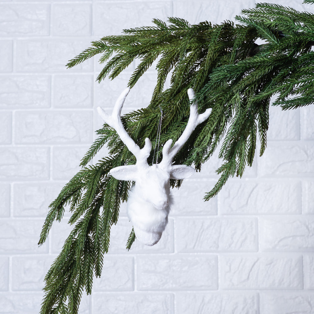 White Glitter & Faux Fur Reindeer Christmas Ornament