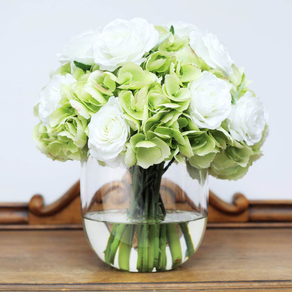 White Rose & Green Hydrangea Everyday Floral Arrangement in Glass Vase