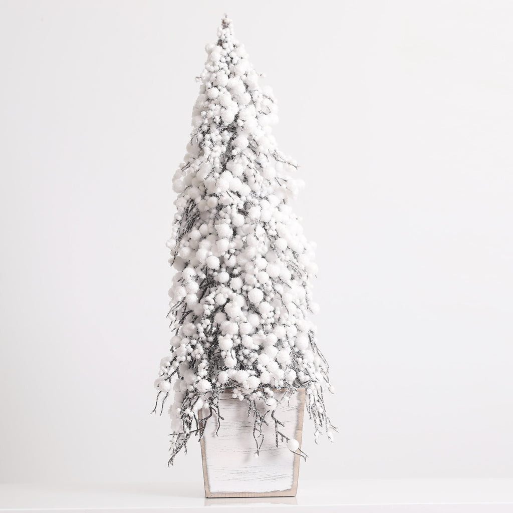 White Snowberry Twig Tree in Whitewashed Wood Pot Christmas Topiary Decor