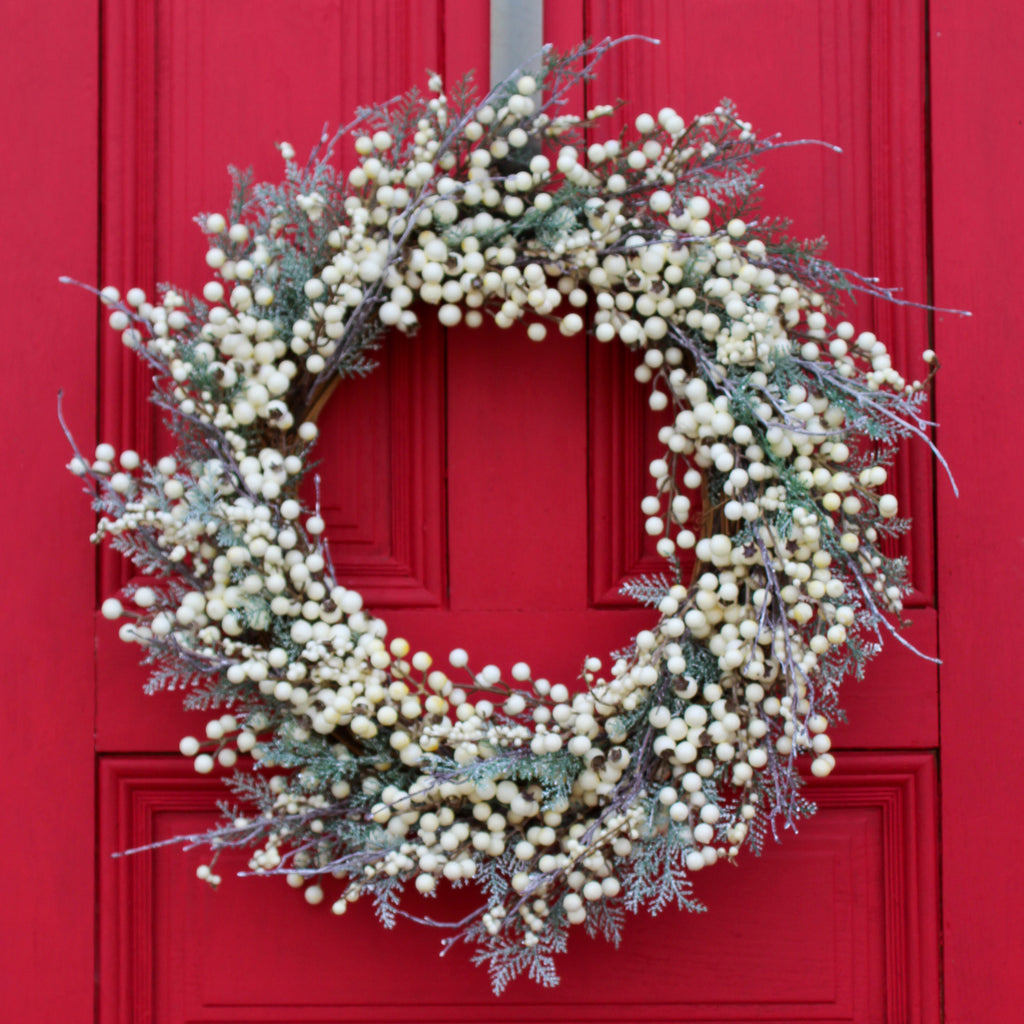 White Berry & Frosted Snow Pine Front Door Christmas Holiday Wreath
