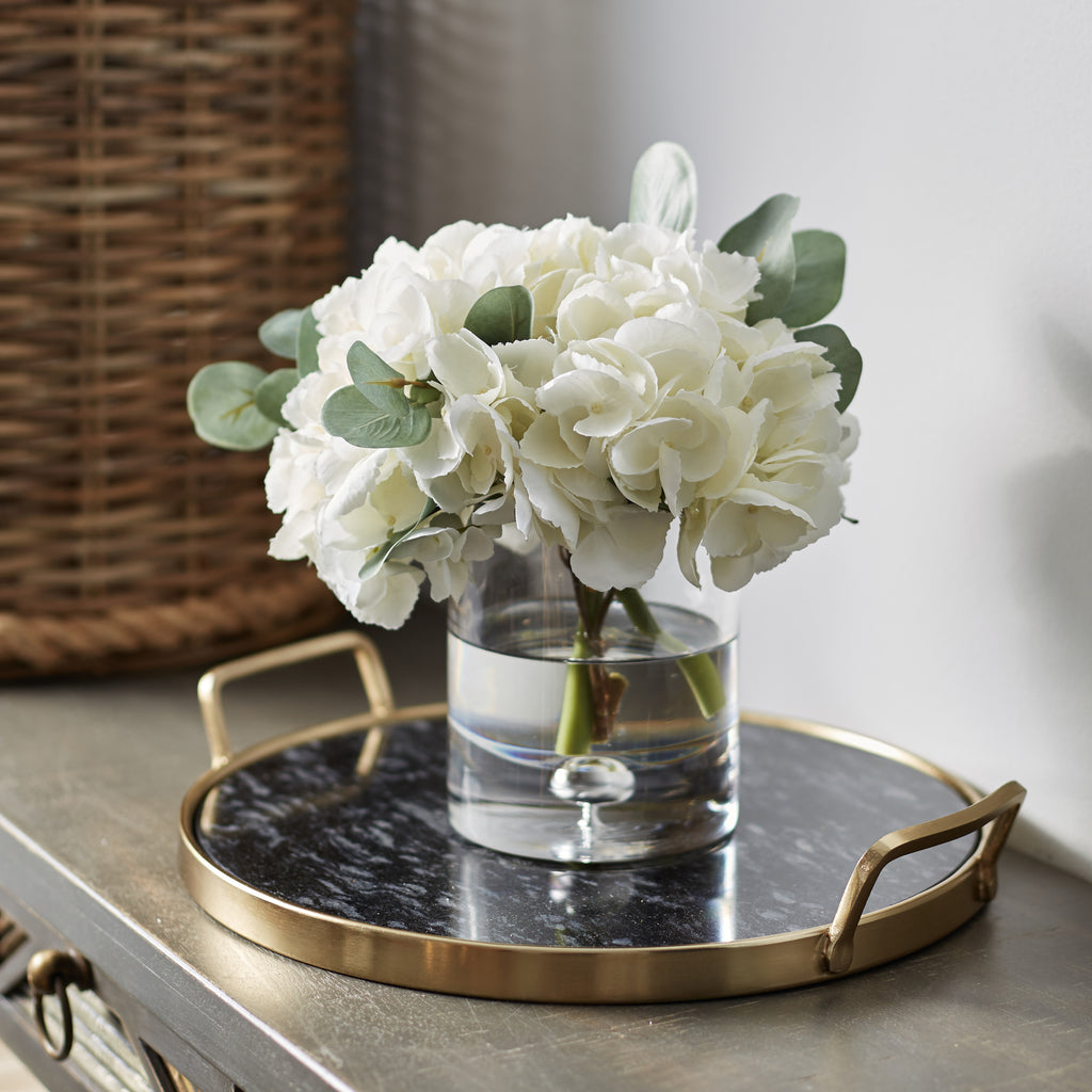 White Hydrangea & Eucalyptus Arrangement in Glass Cylinder Vase