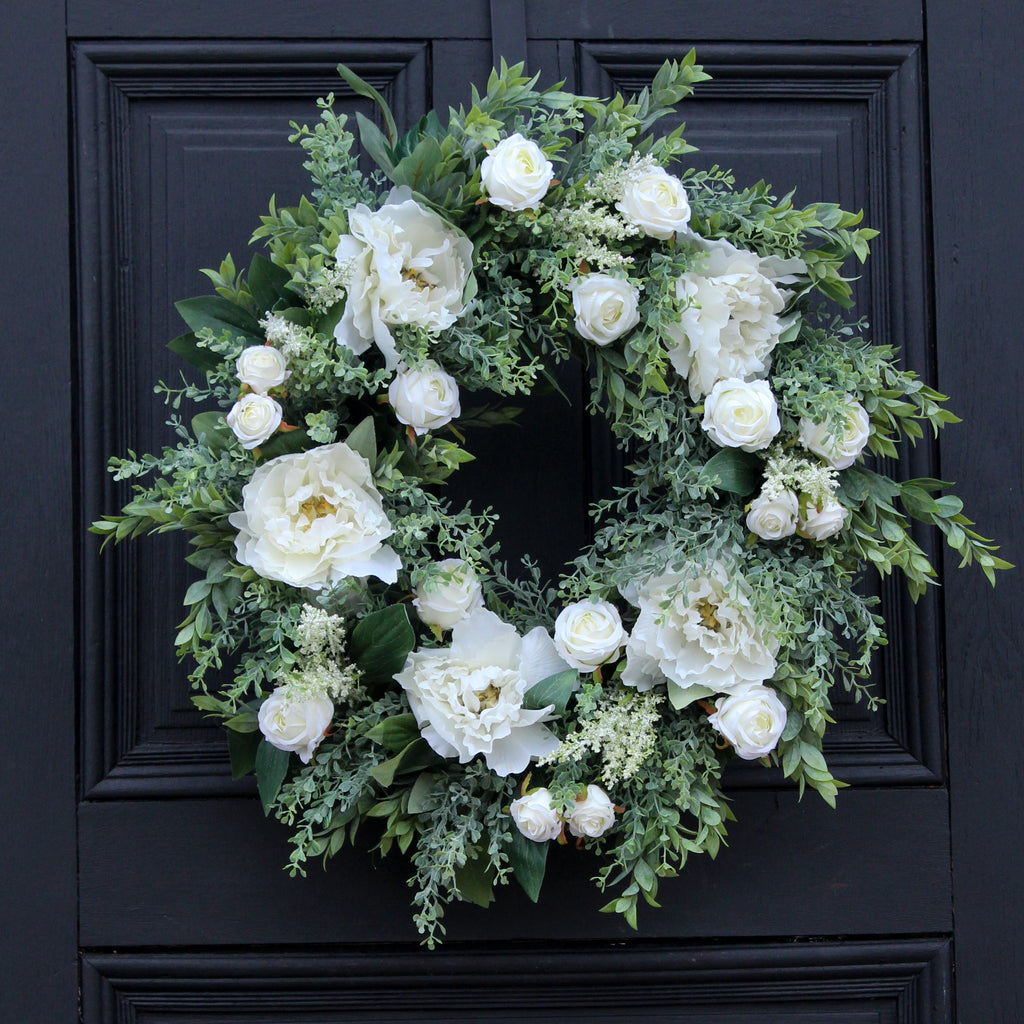 White Peony, White Tea Rose & Myrtle Greenery Everyday Spring Wreath