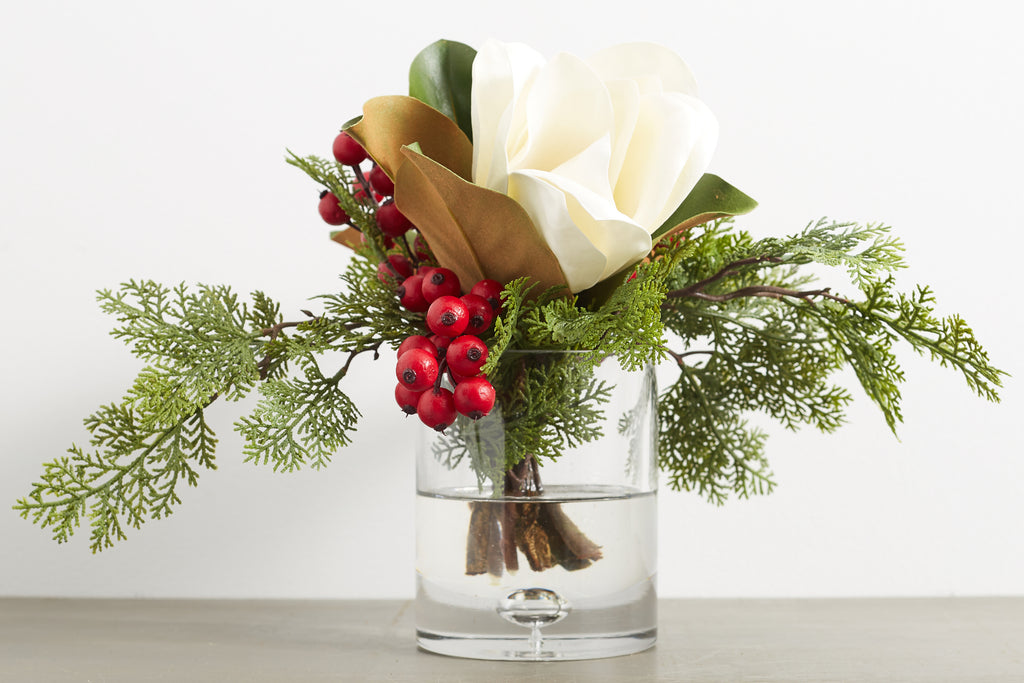 White Real Touch Magnolia, Berry & Cypress Christmas Arrangement in Glass Cylinder Vase