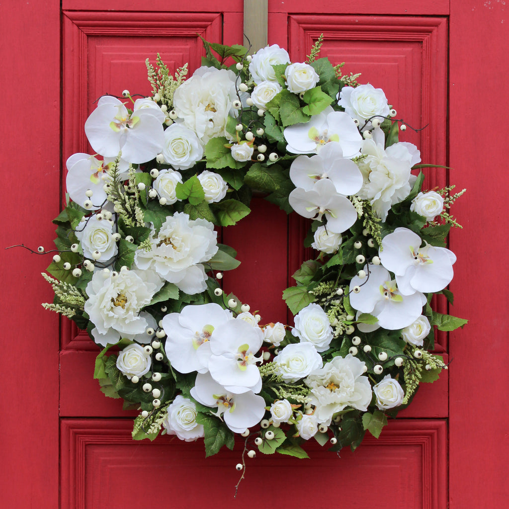 White Real Touch Orchid, Peony & Rose Spring Summer Front Door Wreath