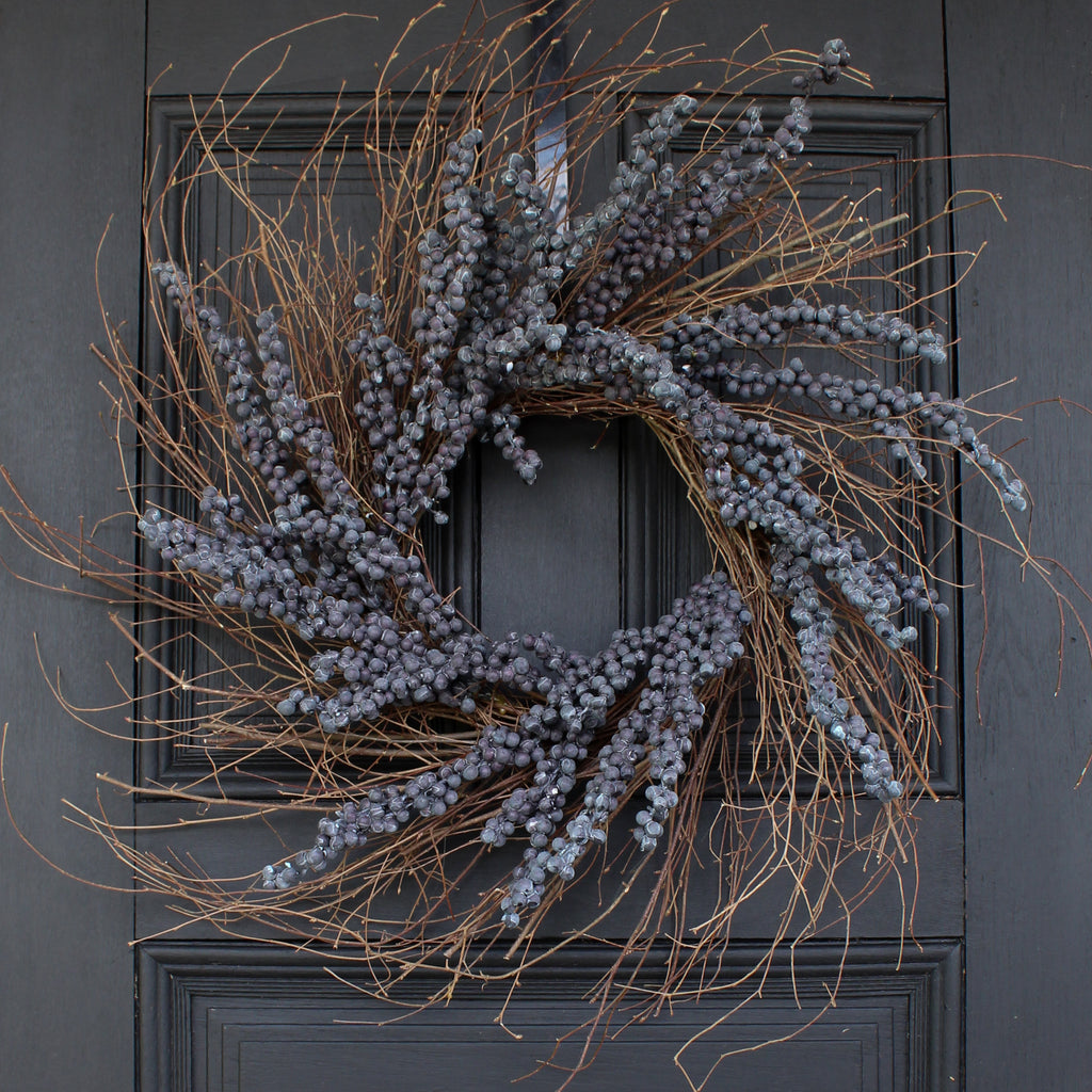 Wild Birch Twig & Weathered Cluster Berry Front Door Fall Wreath - 4 Color Options