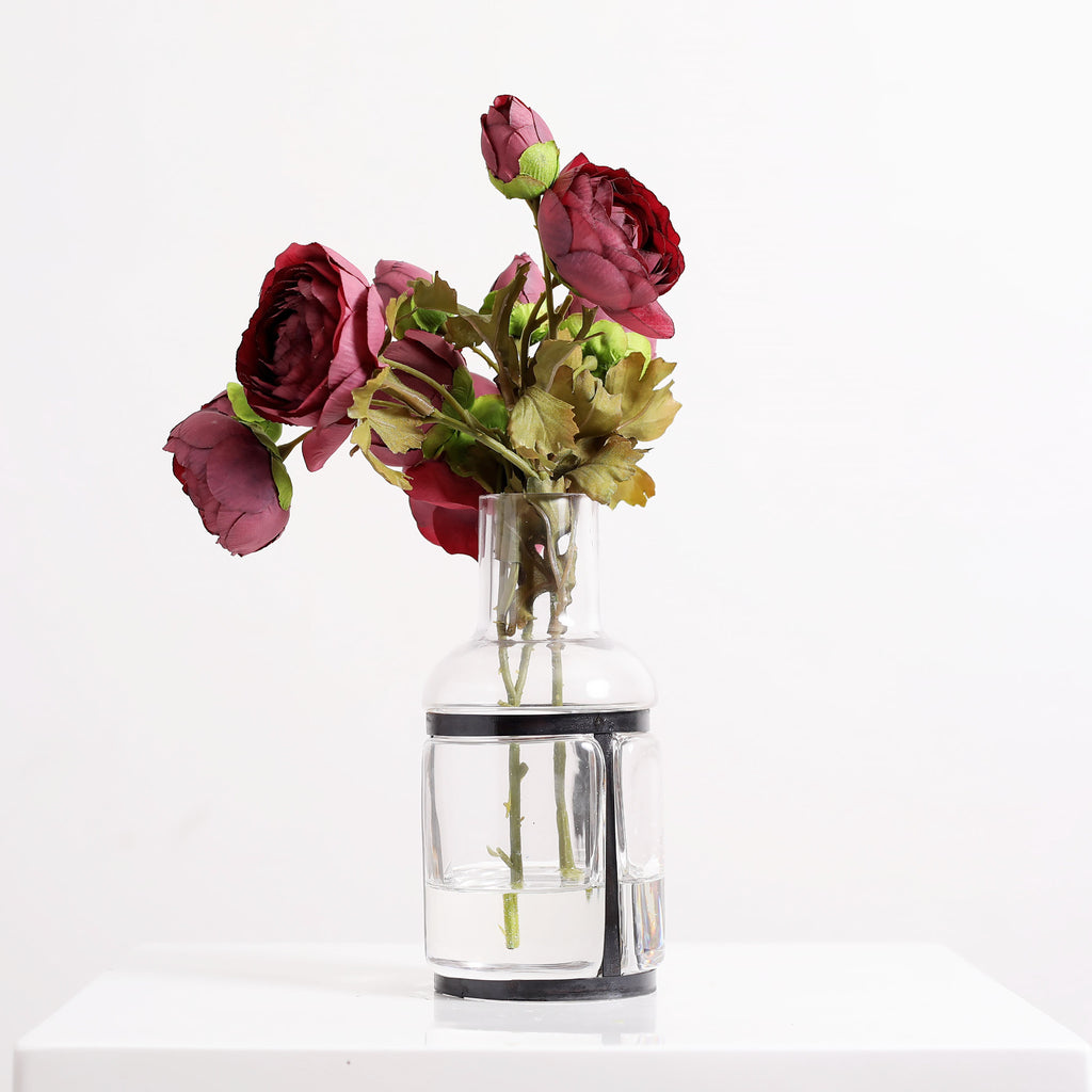 Wine Ranunculus Floral Arrangement in Industrial Glass Bottle - 2 Size Options